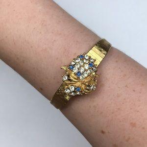 Lucerne Swiss mvmt vintage watch gold rhinestone